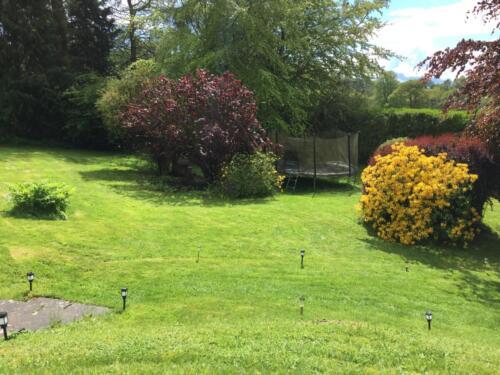 Trampoline in Perthshire garden