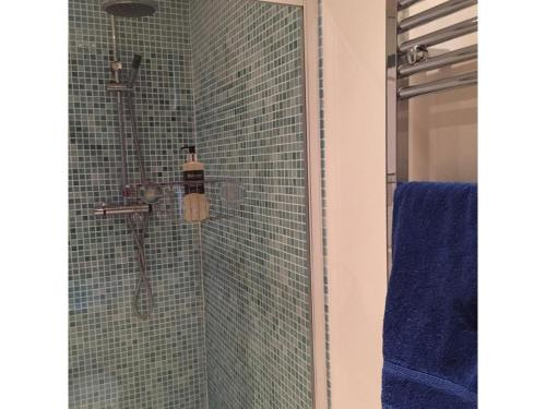 Large shower and heated towel rail in downstairs shower room